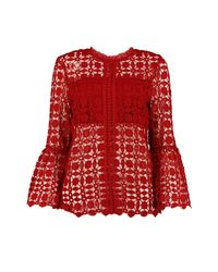 Boohoo Red Emily High Neck Bell Sleeve Lace Top
