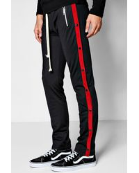 Boohoo Black Skinny Fit Tricot Jogger With Popper for men