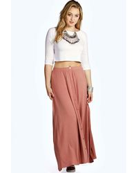 Boohoo - Green Plus Eliza Button Through Maxi Skirt - Lyst
