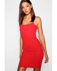 149a68df9 Boohoo Tall Spaghetti Strap Bodycon Mini Dress in Red - Lyst