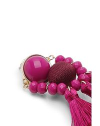 Boohoo - Pink Morgan Bead And Tassel Statement Earrings - Lyst
