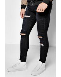 Boohoo - Black Super Skinny Ripped Biker Jeans - Lyst