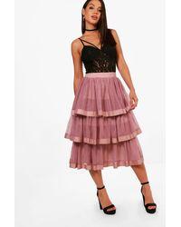 a61814d0f37029 Boohoo Tulle Layered Full Midi Skirt in Purple - Lyst