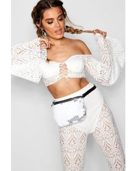 Boohoo White Lace Flare Sleeve Lace Up Crop