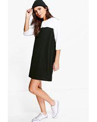 Boohoo - Black Sophia Mono T-shirt Shift Dress - Lyst