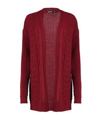 Boohoo Red Emily Cable Knit Cardigan