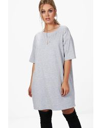 Boohoo Gray Plus Kerry Chain Slashed Front Sweat Dress