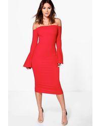 Boohoo | Lana Off Shoulder Flared Sleeved Midi Dress | Lyst
