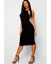 Boohoo Black Womens Basic 90s Neck Midi Dress