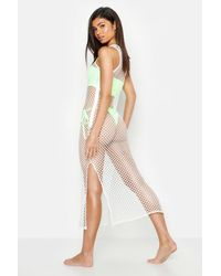 cb5dad1460 Boohoo Fishnet Split Side Beach Maxi Dress in White - Lyst