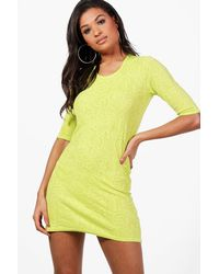 Boohoo - Yellow Anna Short Sleeve Shift Dress - Lyst