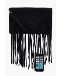 Boohoo | Black Emily Fringed Suedette Cross Body Bag | Lyst