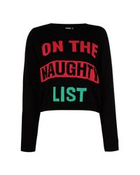 Boohoo - Black Naughty List Crop Christmas Jumper - Lyst