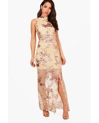 Boohoo Pink Boutique Camy Sequin Mesh Maxi Dress