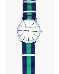 Boohoo - Green Stripe Canvas Strap Watch - Lyst