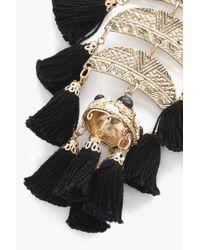Boohoo - Black Rachel Tiered Statement Tassel Earrings - Lyst