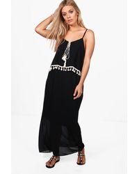 Boohoo Black Plus Melissa Tassel Trim Beach Dress