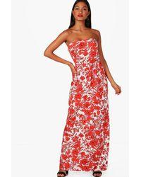 Boohoo White Imi Floral Off Shoulder Maxi Dress