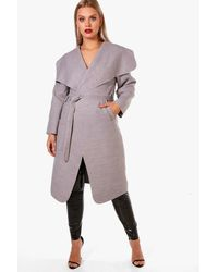 Boohoo Gray Plus Leila Wool Look Wrap Coat