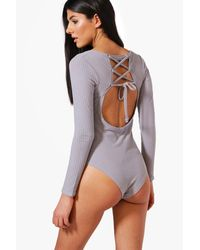 Boohoo Gray Avery Premium Ribbed Lace Back Bodysuit