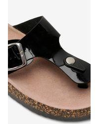 Boohoo Black Toe Post Footbed Sandals
