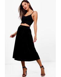 Boohoo Black Talia Pleated Velvet Midi Skater Skirt