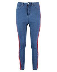 Boohoo - Blue High Rise Sports Stripe Skinny Jeans - Lyst
