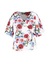 Boohoo White Plus Oriental Floral Wrap Top