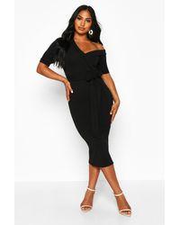 Robe Midi Cache-Coeur Épaule Dénudée Et Manches Volantées Boohoo en coloris Black