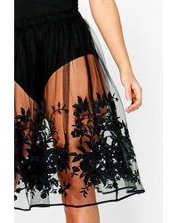 Boohoo Black Boutique Anja Sequin Embroidered Full Midi Skirt