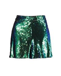 Boohoo - Green Nicole All Over Sequin High Waisted Hot Pants - Lyst