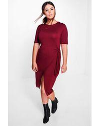 Boohoo Multicolor Plus Niamh Tie Waist 3/4 Sleeve Wrap Dress