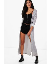 Boohoo | Gray Karen Maxi Side Split Cardigan | Lyst