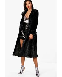 Boohoo - Black Leah Double Breasted Faux Fur Trench - Lyst