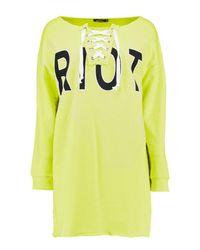 Boohoo - Yellow Slash Neck Lace Up Sweat Dress - Lyst