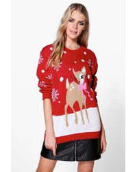 Boohoo Red Niamh Reindeer Christmas Jumper
