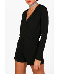 Boohoo White Tall Wrap Front Playsuit