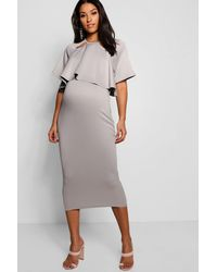 Boohoo - Metallic Maternity Double Layer Wiggle Dress - Lyst