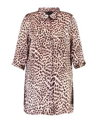 Boohoo Multicolor Plus Lucy Leopard Print Shirt Dress