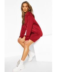 Boohoo Red Womens True Oversized Hoodie Dress