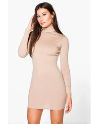 Boohoo Blue Long Sleeved Ribbed Bodycon Dress
