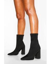 Boohoo Black Wide Fit Block Heel Pointed Toe Sock Boots