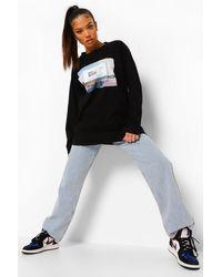 Boohoo Black Petite Photo Print Long Sleeve T-shirt