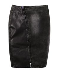 Boohoo - Black Carly Asymmetric Zip Front Bodycon Denim Skirt - Lyst