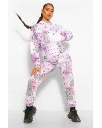 Pantalones De Correr Desteñidos Con Estampado De Bandana Boohoo de color Multicolor