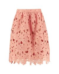 Boohoo - Pink Boutique Crochet Lace Midi Skater Skirt - Lyst