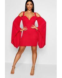 Boohoo Exaggerated Flare Sleeve Mini Dress in Red - Lyst 4b5246470