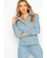 Boohoo Blue Womens Jeanshemd Im Western-Style