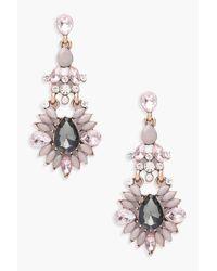 Boohoo Gray Statement Diamante Gem Earrings