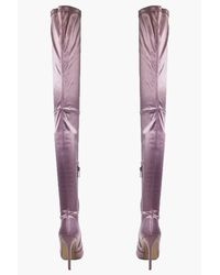 Boohoo Purple Beatrice Satin Pointed Thigh Boot